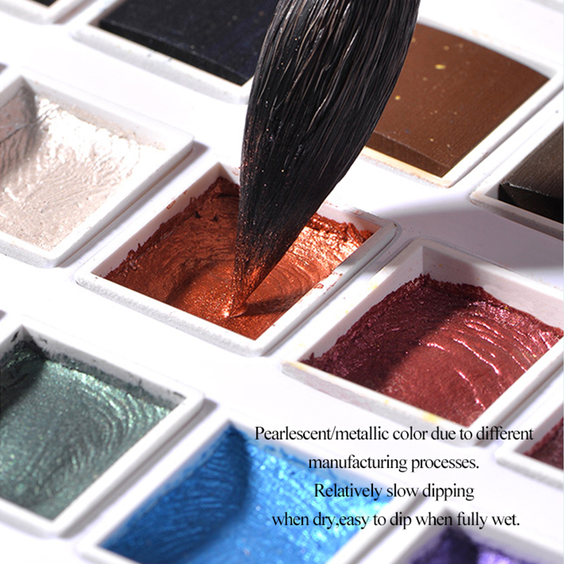 12 Colors Solid Watercolor Paints Set Textured Pearlescent Pigment Metallic Glitter Acuarela Suit Portable Art Supplies