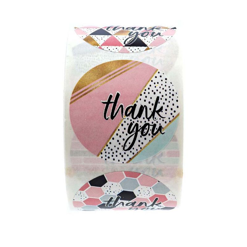 500pcs/roll 8 Designs Thank You Stickers Handmade Scrapbooking Gift Packaging Stationery Decor