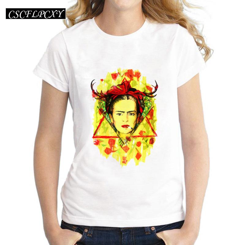 Asian-Size-Frida-Kahlo-simple-drawing-women-t-shirt-Frida-Fest-printed-short-sleeve-casual-lady
