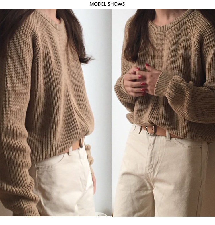 Korean Fashion Ladies Full Sleeve Women Knitting Sweater Solid O-Neck Pullover And Jumper Loose Sweater Hot Sale S809Q 9