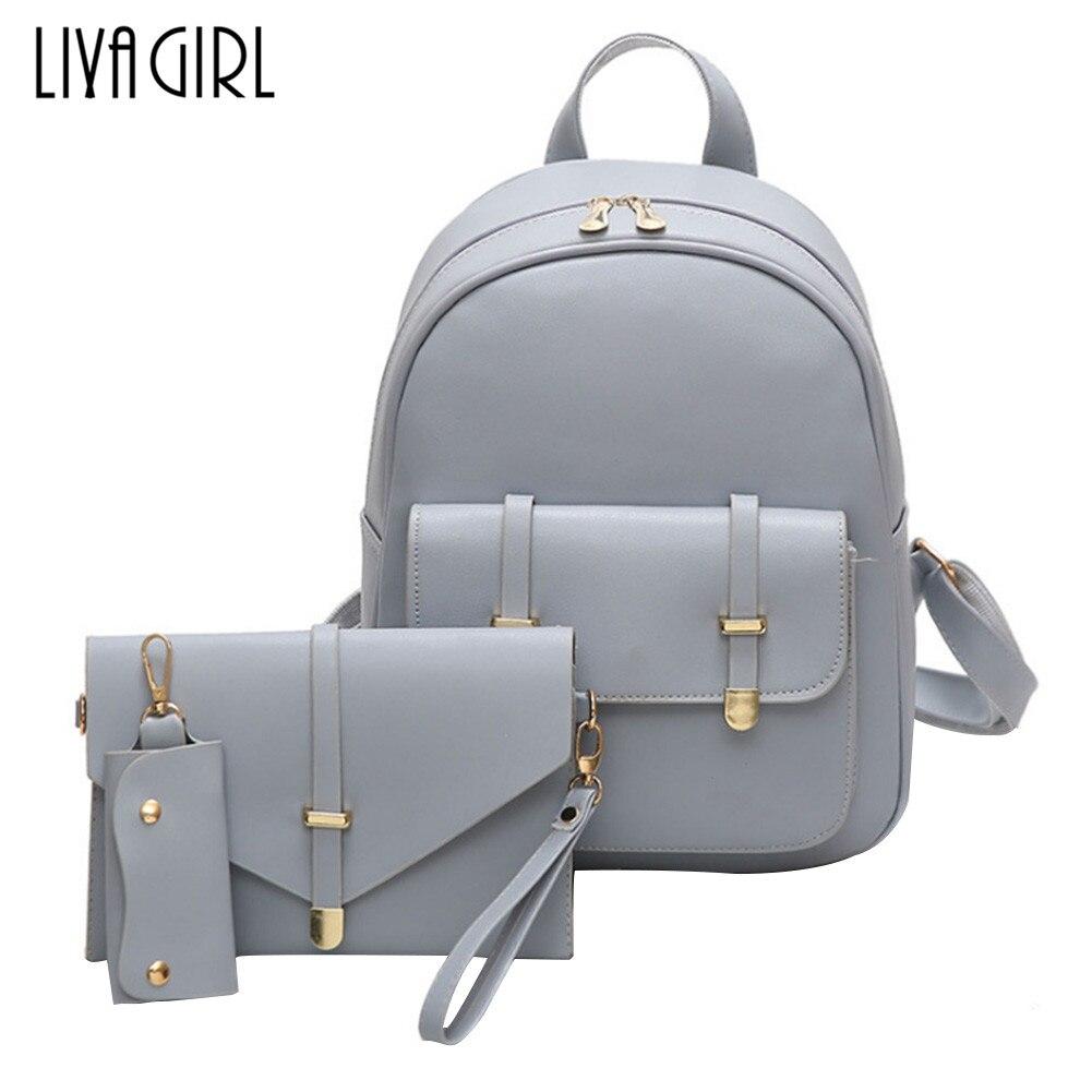 3PCS Set Women PU Leather Backpack School Bag Shoulder Bag Card Holder Purse Lot