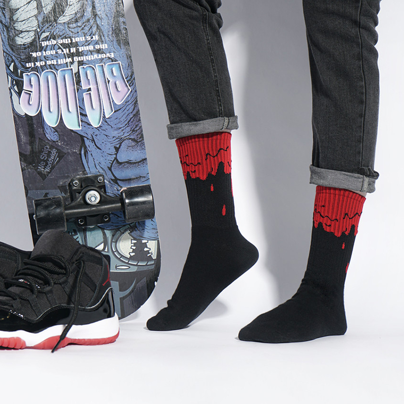 Men Fashion Hip Hop Black powder toe dirty powder flowing men Crew Socks basketball tide unisex  Street Skateboard Cotton Socks