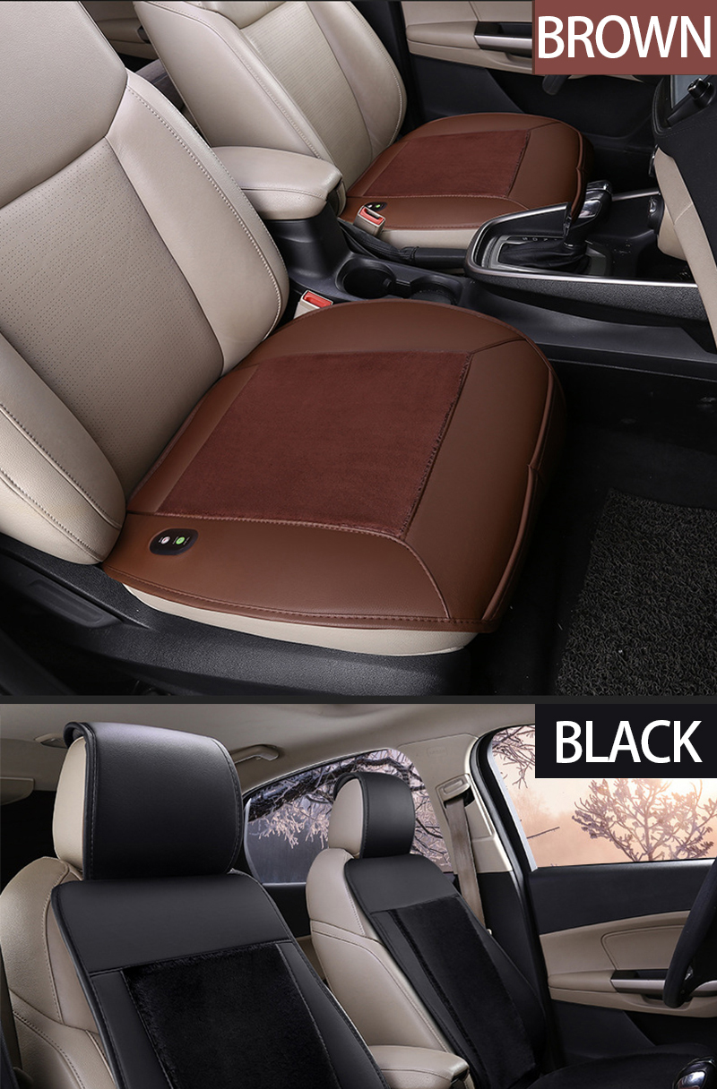 1 Pair Auto Car Front Seat Heated Pad Heater Cushion Warmer Protcetor Cover Mat