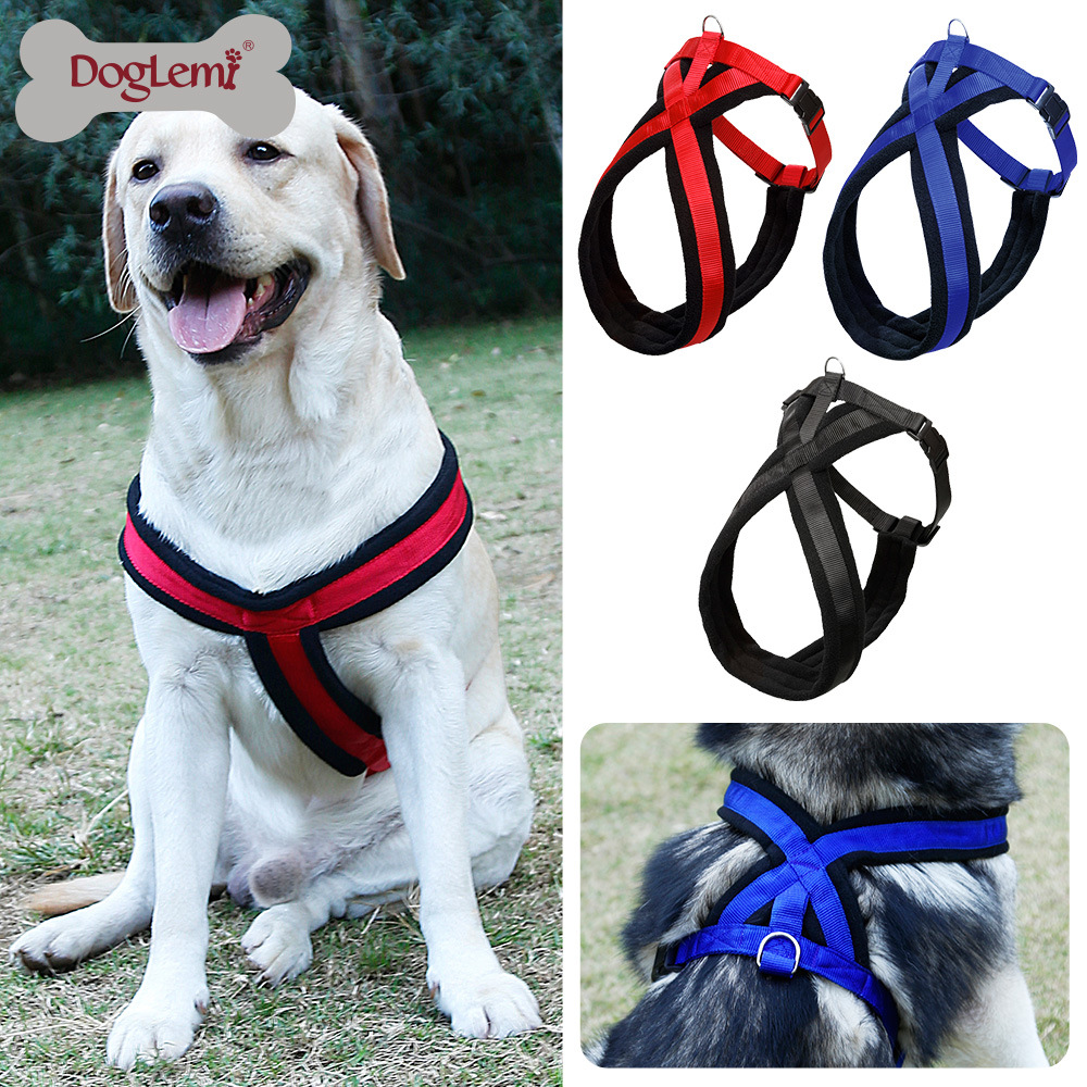 DogLemi Dog Supplies Collars Harnesses Leads Big dog chest harness thick comfortable flannel pet traction belt large dog JUN4