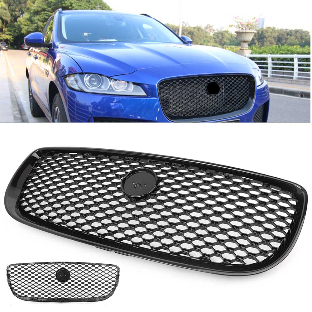 Car Front Grille Upper Center Radiator Mesh Grill For Jaguar XJ 2016 2017 2018 Black w/ Emblem grille
