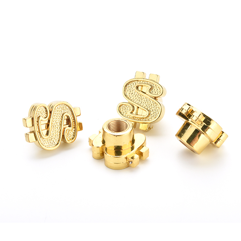 4Pcs/set Bike Valve Caps Plastic Universal Gold Dollar Car Truck Tire Air Valve Stem Cover Caps Wheel Rims