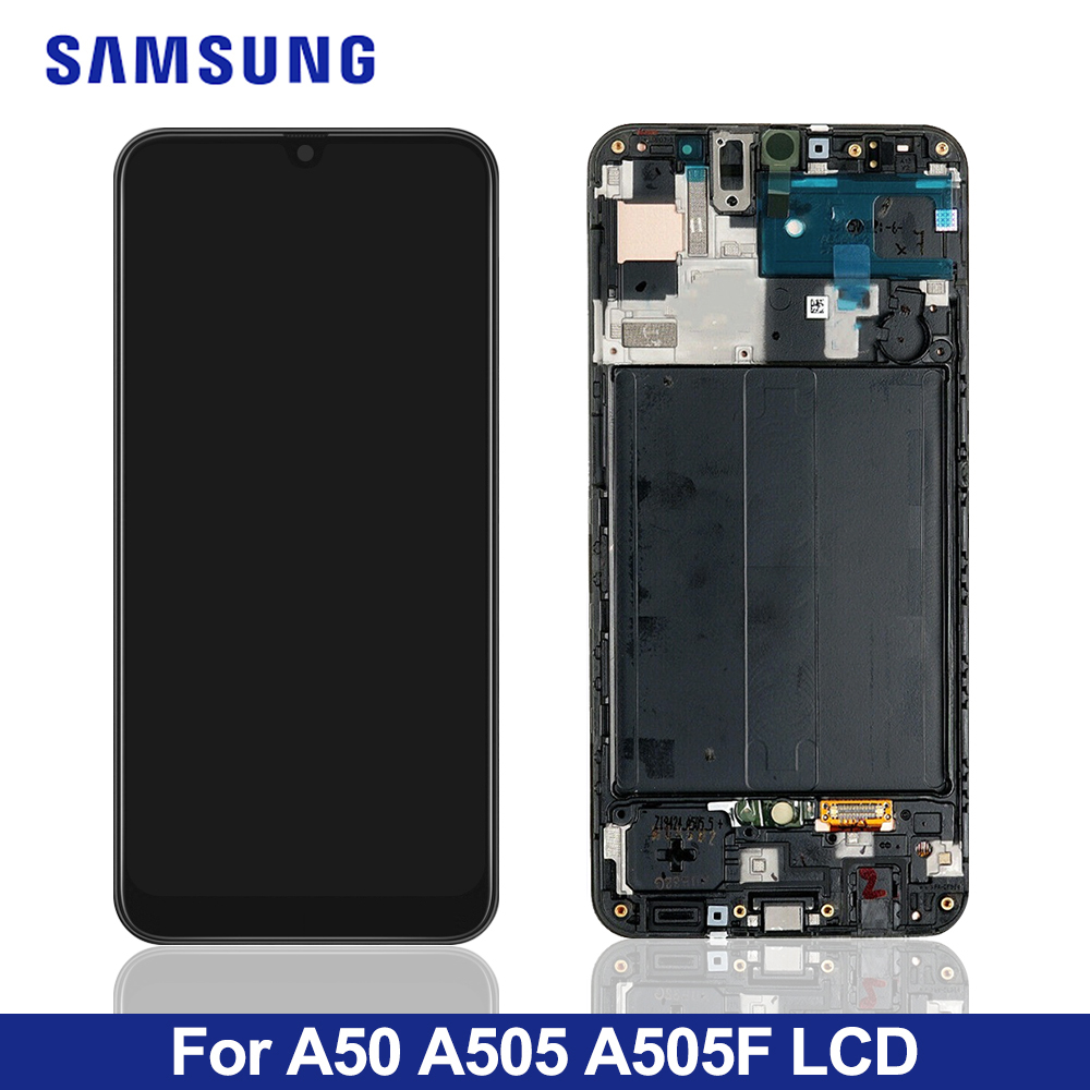 YANGJ Phone LCD Screen Super AMOLED Material LCD Screen and Digitizer Full Assembly with Frame for Galaxy A70