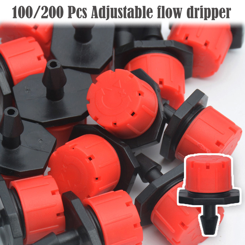 Hose Irrigation-Equipment-Set Dripper Micro-Flow Misting Adjustable Garden 100pcs/200pcs title=