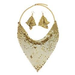 Набор индийских ювелирных изделий MANILAI, Модный комплект ювелирных изделий из блестящего металла с нагрудником и подвеской, серьги для вечер...