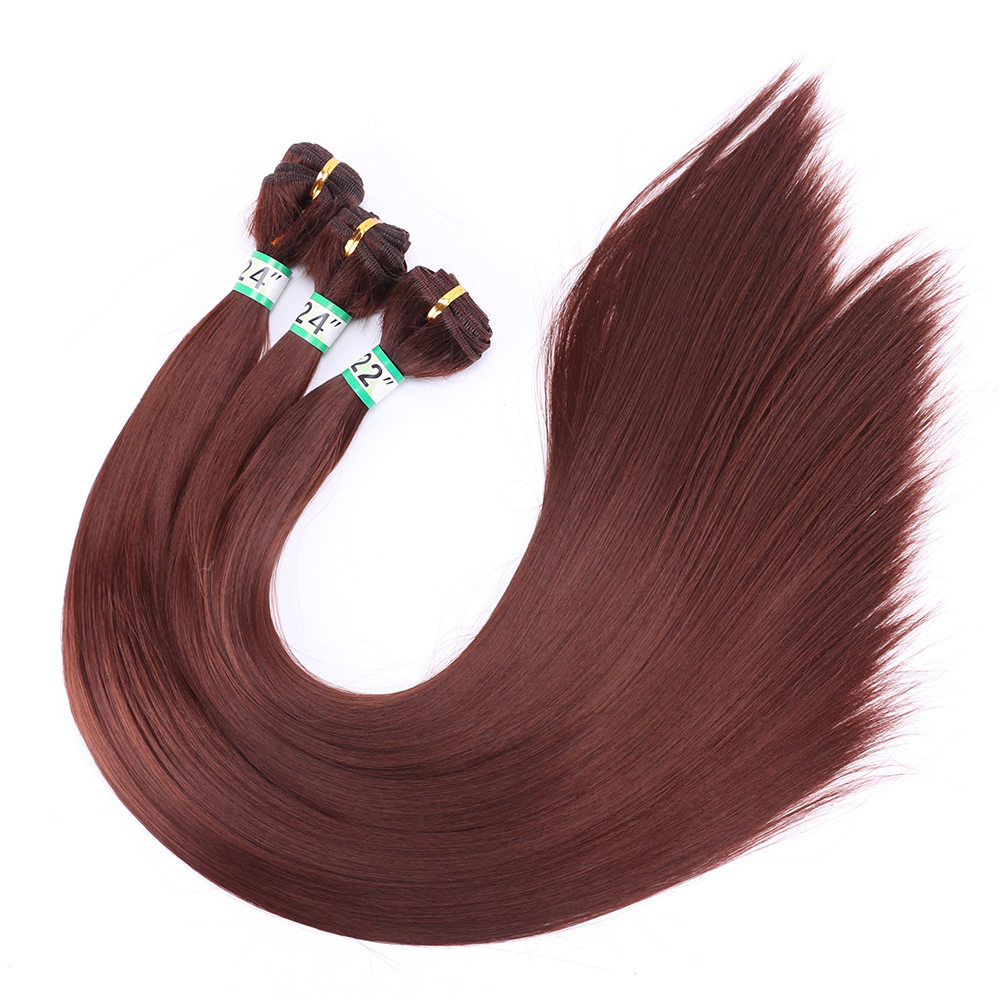 Weave Hair-Bundles Light Synthetic-Hair Brown 14-30inch 100-Gram/Pcs 33 Fsr-Color Glossy title=
