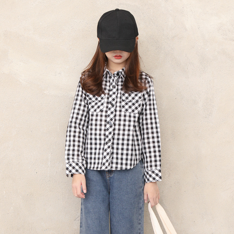 6 To16 Years Girls 2020 Spring Blouse Turn-down Collar Children Cotton Blouse for Teen Girls Baby Girls Plaid Blouse, #8602