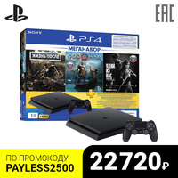 Комплект «Sony PlayStation 4 Slim (1TB) Black (CUH-2208B)» + игра «DG» + игра «GOW» + игра «TLOU» + PS Plus 3-мес.