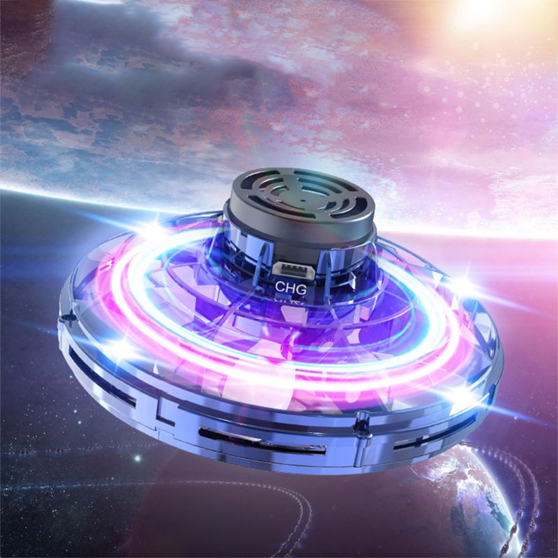 flynova Most Tricked-Out spinner hand For Flying Spiner finger game Toys Mini UFO LED drone flying saucer disc Christmas gift