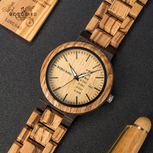 Men Wristwatches Quartz Movement Bobo Bird Complete-Calendar Fashion LO26-1-2 Saati Week-Display