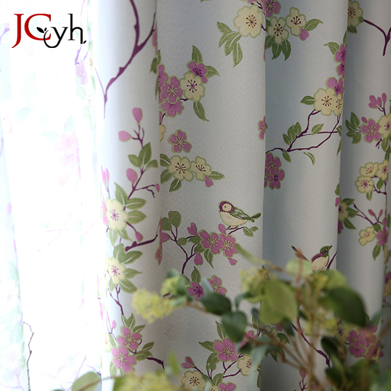 Pasroral Printed Flower Curtains For Living Room Window Rideaux Drapes For Bedroom Treatments Blinds Panel Tende Cortinas title=