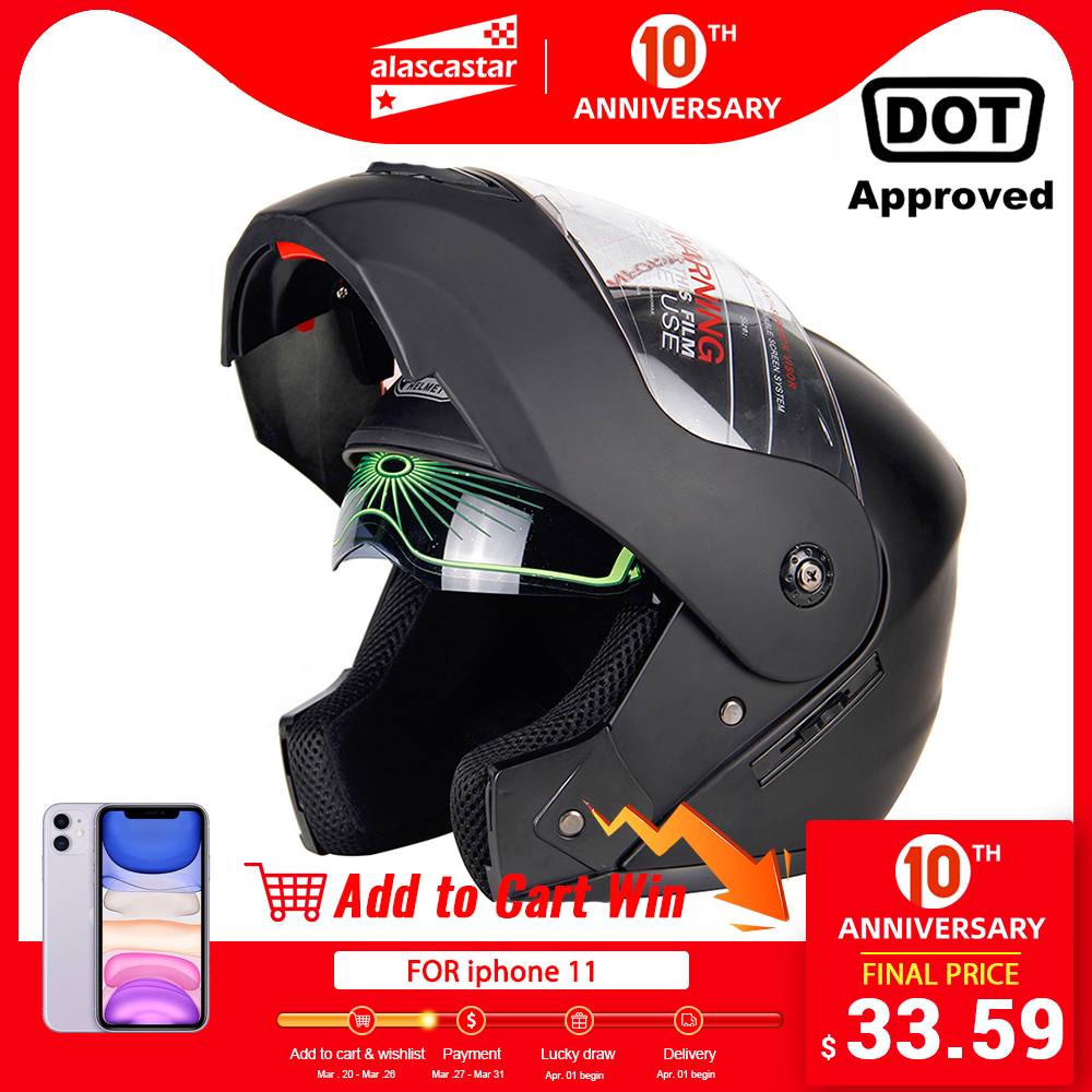 2019 New Flip Up Motorcycle Helmet Motorbike Modular Dual Lens Motocross Moto Helmet Crash Full Face Helmets Casco Moto Casque# title=