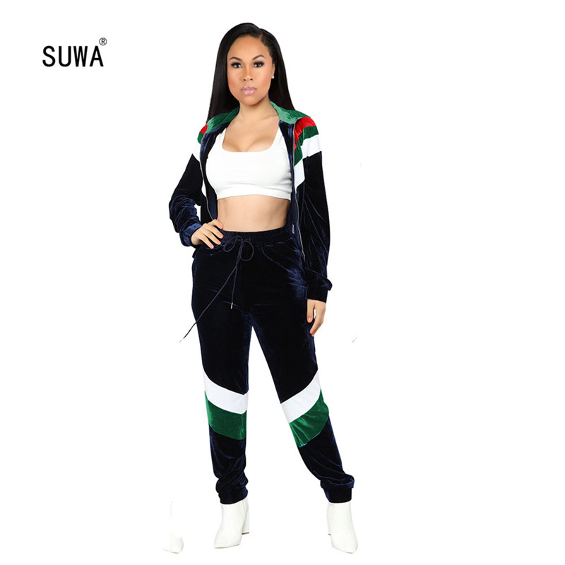 Autumn Workout Active Two Piece Set For Women/'s Long Sleeve Hoodies Coat Skinny Pants Casual Sports Streetwear Velvet Tracksuit