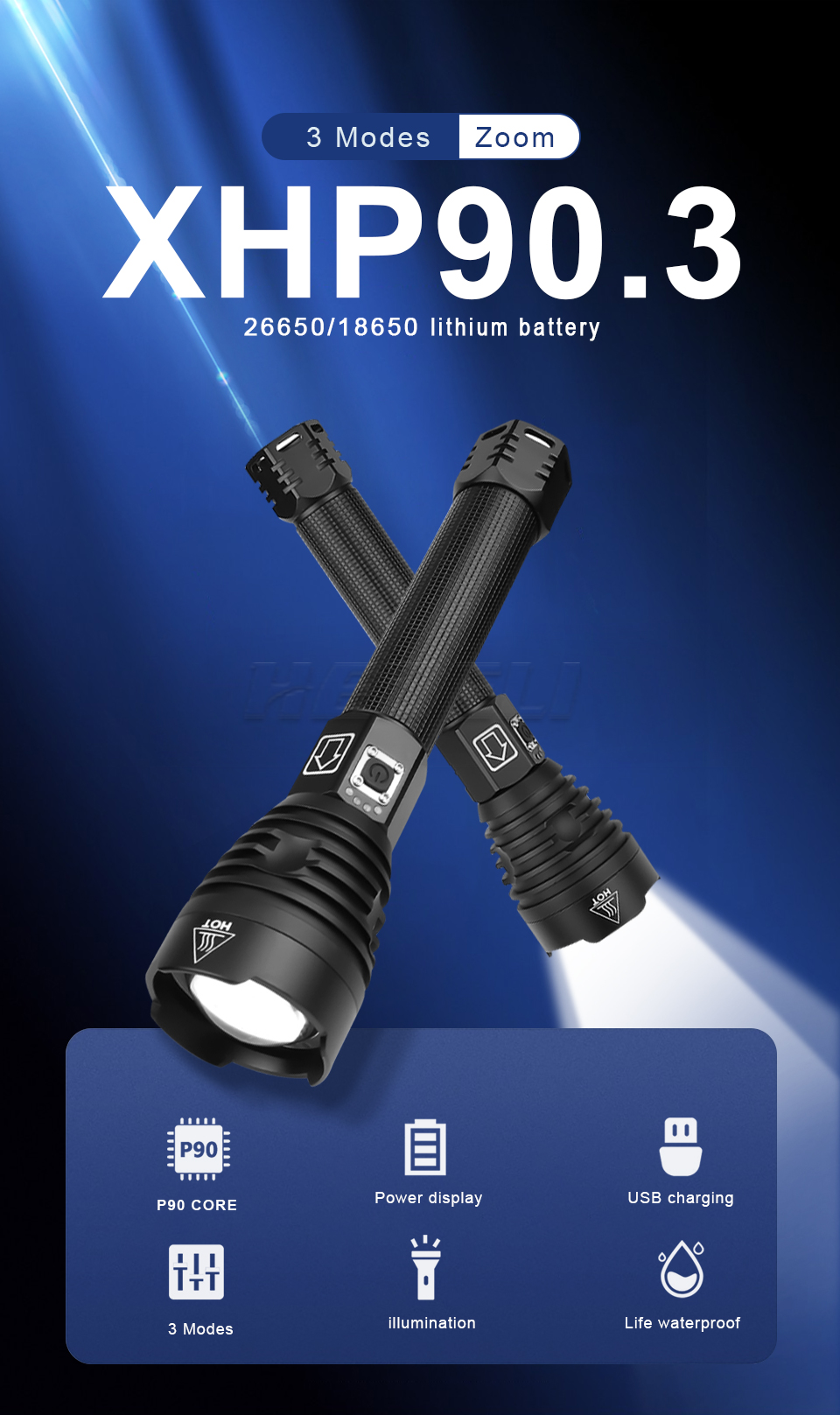 Lampe torche Led Ultra puissante rechargeable XHP 90.3 500 000 lumens