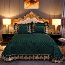 Bedspread QUILTED-COVERLET-SET Velvet DIAMOND-QUILTED Queen-Size Luxury Lace King Thick