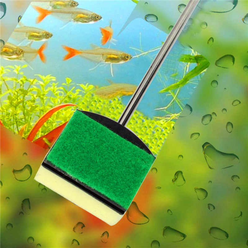 Fish Tank Cleaning Brush Sponge Double Side Aquarium Glass Algae Cleaner Aquarium Accessories