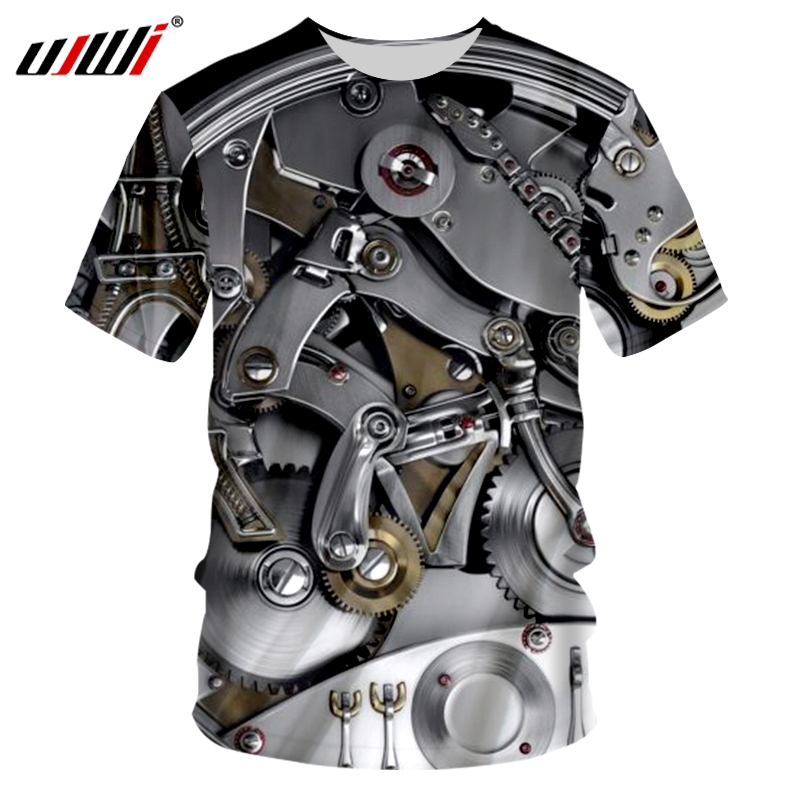 New Fashion Women Men Car Engine Gear Print 3D Casual T-Shirt Short Sleeve Tops