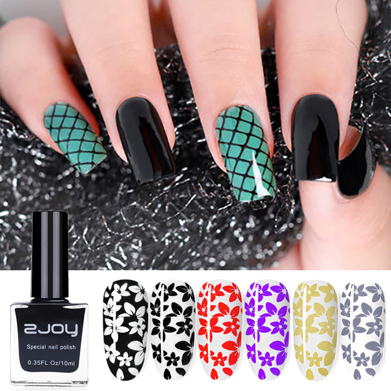 10ml/Bottle Black White Nail Stamping Polish Nail Art Plate Printing Lacquer Gold Silver Nail Stamp Varnish