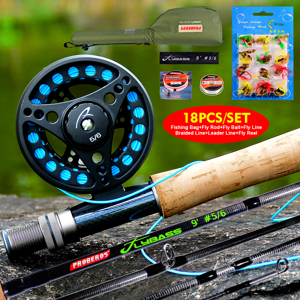 Equipped Fishing-Line-Set Fly-Reel PROBEROS with Bag 1set Full-Kit New title=