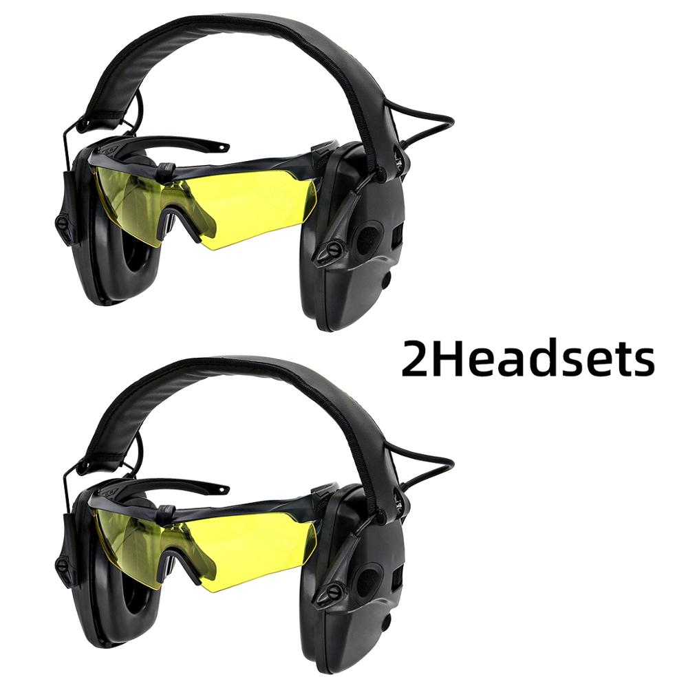 Tactical Hearing protection electronic shooting headphones anti-noise Sound amplification Sightlines Ear Pads headset  BK