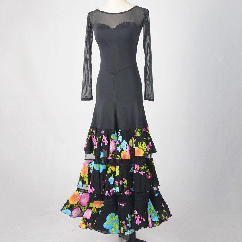 2019 Modern Waltz Ballroom Dance Competition Dresses Women Standard Dance Dress Fluffy Ballroom Dance Dres