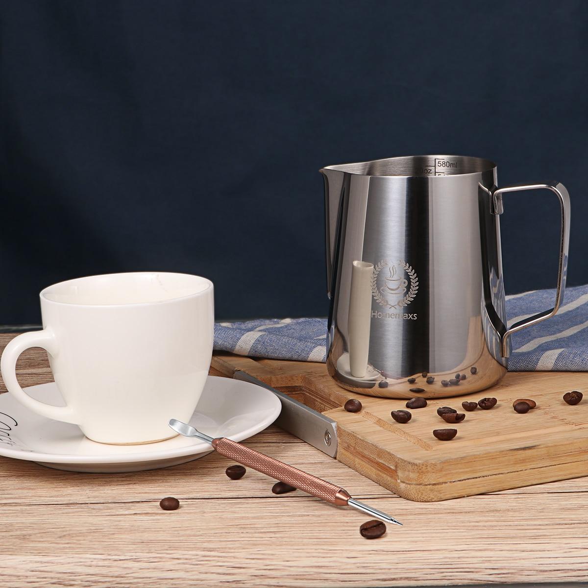 baristas y arte de caf/és blanco 600 ml leche para taza de capuccino Jarra de leche Jarra de leche para m/áquinas de caf/é espresso
