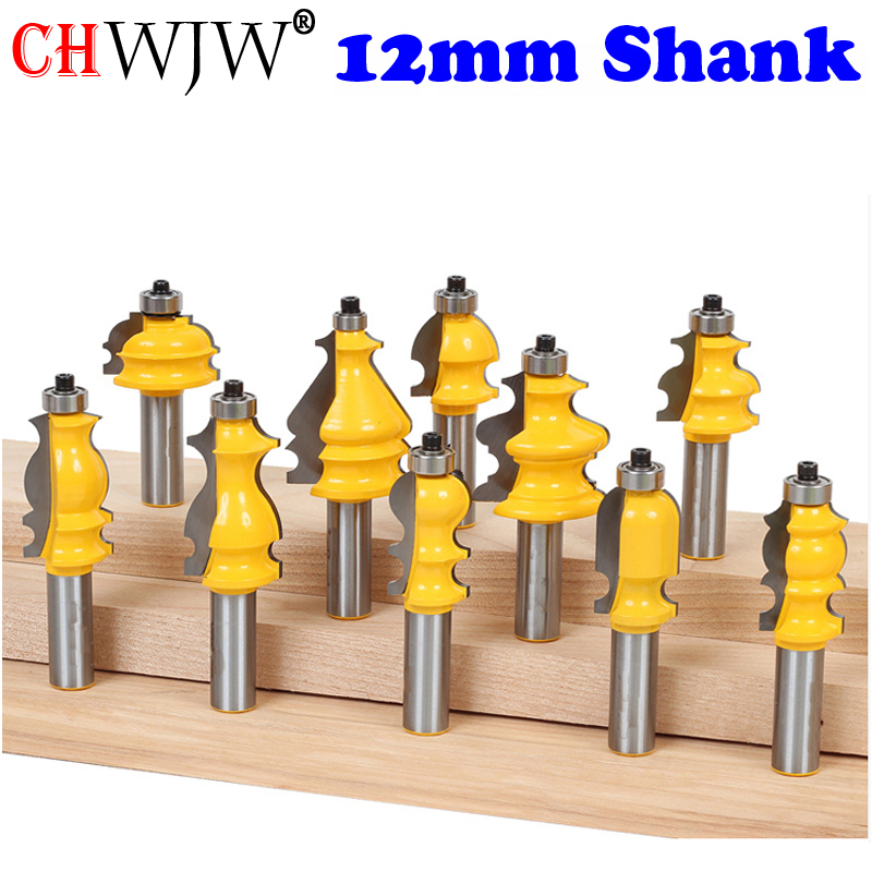 1PC 12mm Shank Architectural Cemented Carbide Molding Router Bit Trimming Wood Milling Cutter for Woodwork Cutter Power Tools