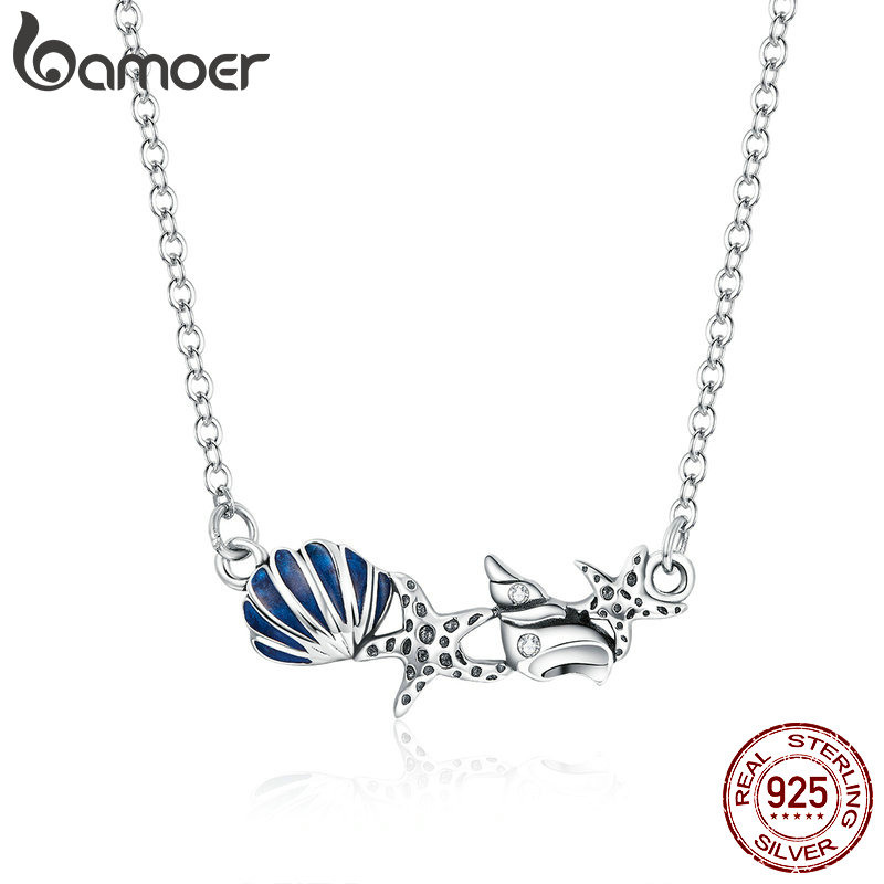 bamoer Summer Shell and Starfish Chain Necklace for Women 925 Sterling Silver Adjustable Neclaces Fashion Jewelry SCN407