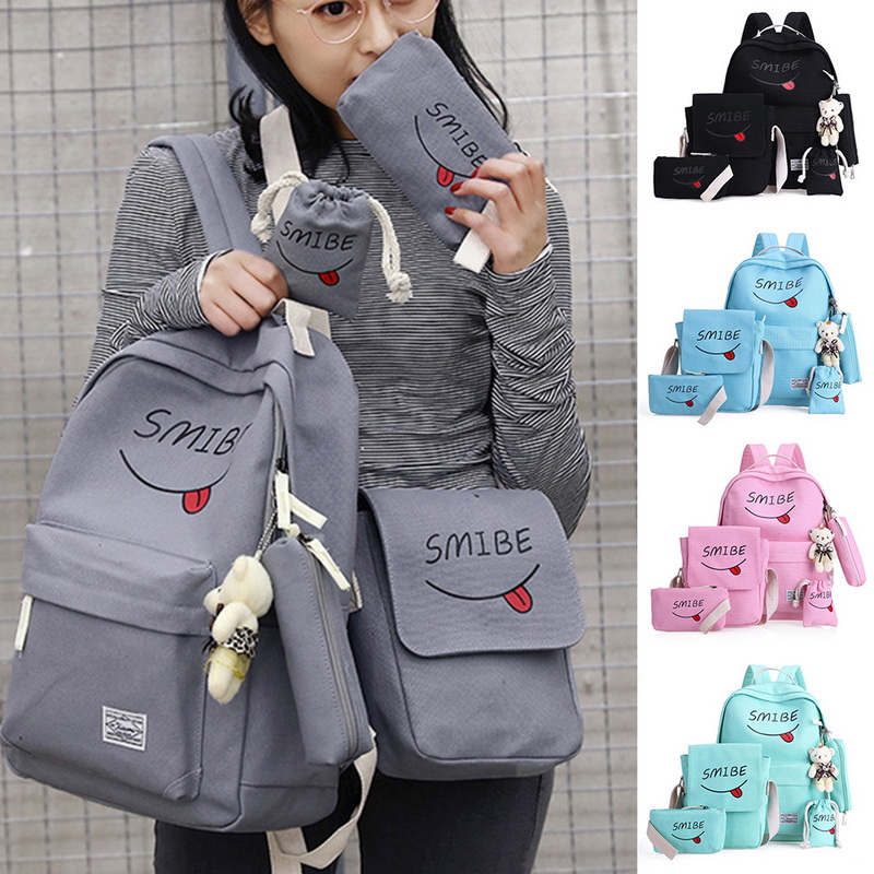 5 pcs/set school bags for teenager girls children schoolbag large capacity school backpack kids bag satchel travel bag mochila