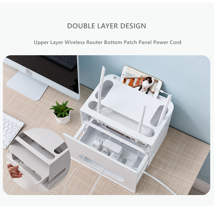 Double Layers Drawer Type WIFI Router Storage Box 63