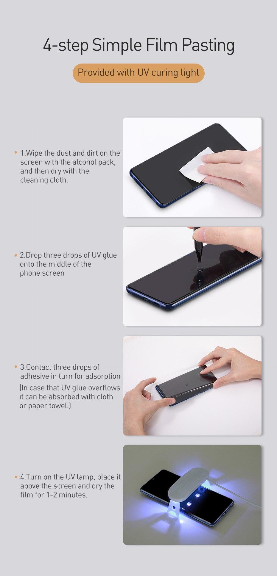 Bộ 2 miếng dán màn hình kính cường lực Full 3D chống tia UV cho Samsung Galaxy S20 - S20 Plus - S20 Ultra hiệu Baseus
