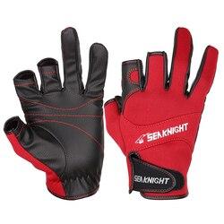 Спортивные зимние рыболовные перчатки SeaKnight SK03, 1 пара/лот, 3 полупальцевые дышащие кожаные перчатки из неопрена и ПУ, рыболовное оборудовани...