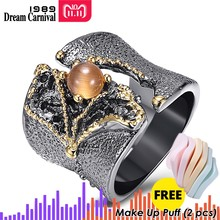 DreamCarnival 1989 New Arrival Fissure Rings for Women Split On Top Black Gold Color with Light Brown CZ Stone Wholesale WA11609(Китай)