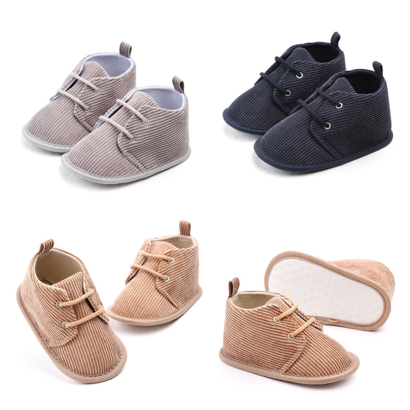 Newborn Baby Toddler Girls Boy Patchwork Soft Anti-slip Lace-up Shoes Solid