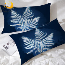 BlessLiving Leaf Pillow Watercolor Pillowcase Case Dark Blue Plant Energy 2-piece Pillow Cover White Leaves Bedding Wholesale(China)
