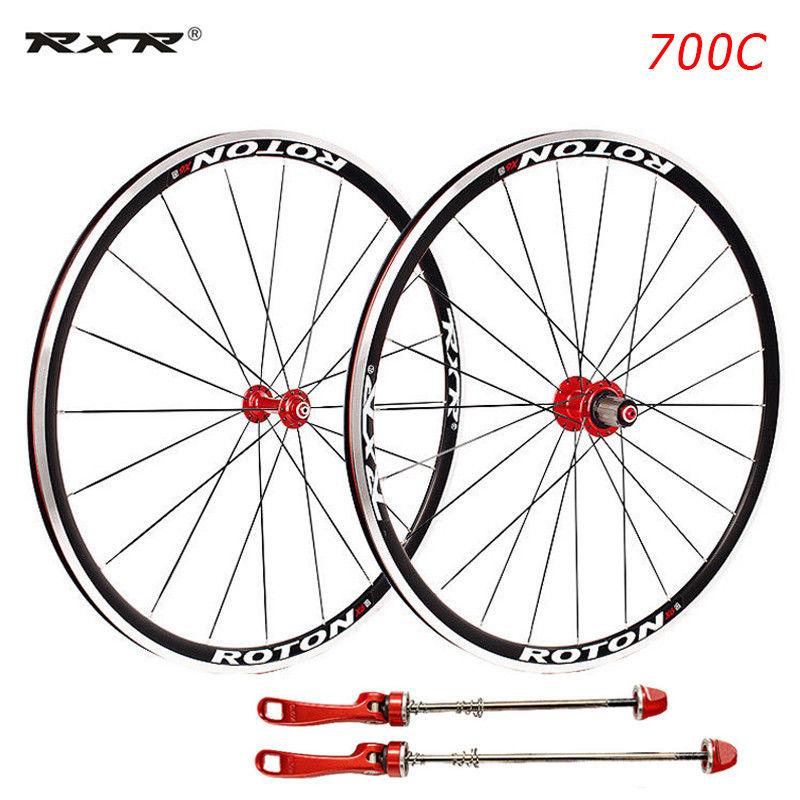 Road Bike 700C Bearing Wheels 7-11 Speed V Brake Clincher Front Rear Wheelsets (2)