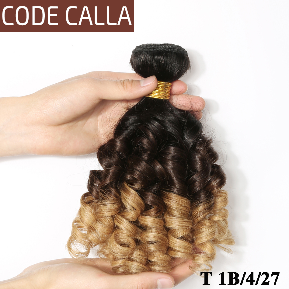 Ombre Peruvian Bouncy Curly Hair Weave Bundles Code Calla 8-26inch T1B/4/27 Human Hair Extensions 1/3/4 Bundles Deal T1B/4/30
