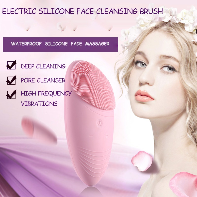 Person - Silicone Face Cleansing Brush Electric Vibration Massage Waterproof Face Cleansing Tool Wash Face Brush Pore Cleaner