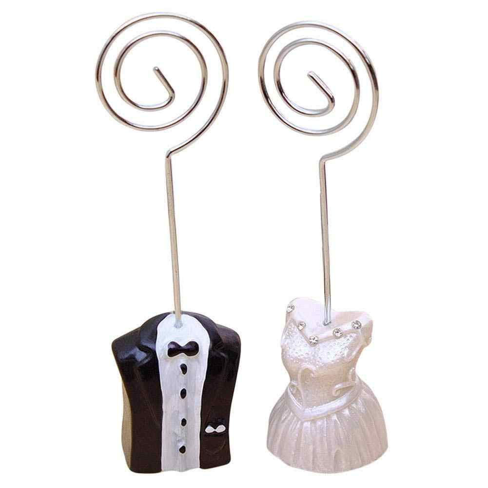 New arrival 1 Pair Bride Groom Shape Wedding Place Card Holder Table Number Stand Photo Clip