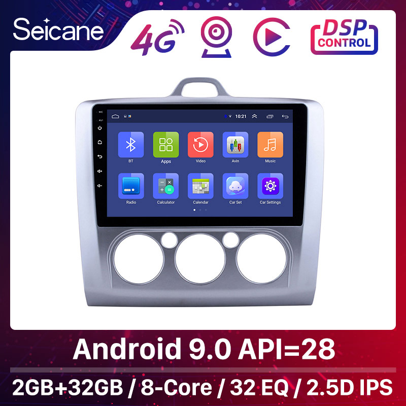 Seicane 9 inch Android 9.0 Car Radio Stereo Head Unit Player For Ford Focus 2 Exi MT 2004-2008 2009 2010 2011 GPS Navigation