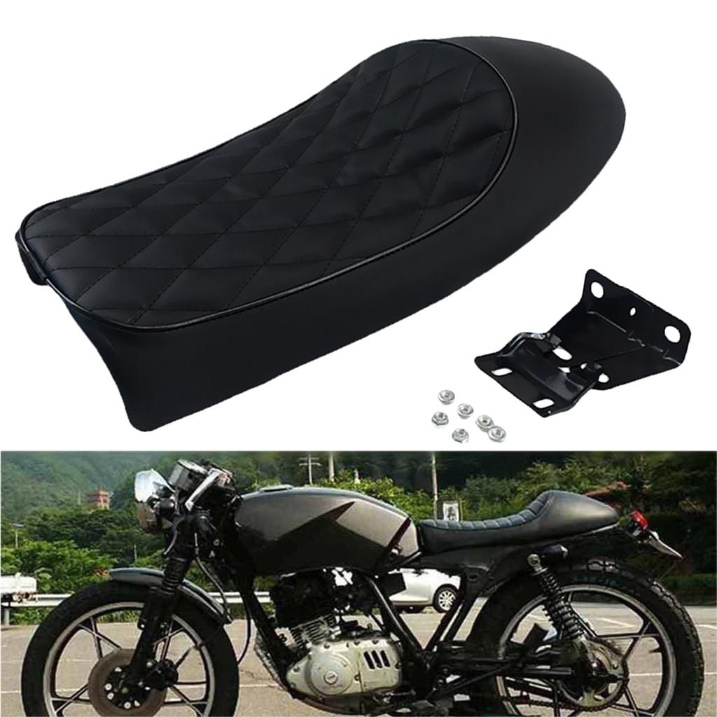 Black Motorcycle Replacement Seat Saddle Seats Motorcycle Seat Cafe Racer Vintage Shockproof Motorcycle Cushion Seat Racer Saddle Seat Soft Cushion