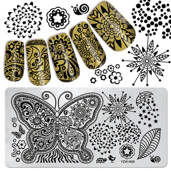 ZKO Flower Butterfly Leaf Design Rectangle Template DIY Nail Art Stamp Stamping Image Plate #YZW-N06
