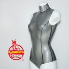 Black Latex Swimsuit Transparent Outfit Sexy Women with Back-Zip Aerobics