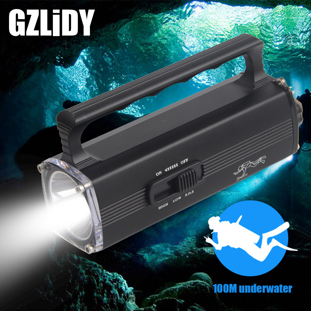 Professional Diving Light IPX8 Rechargeable L2 LED Searchlight Super Bright Waterproof Flashlight 100 Meters Underwater Lantern