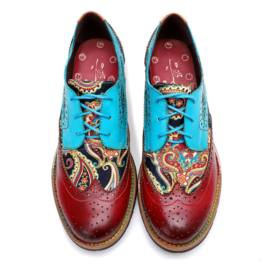 2020 New Spring Casual Women Brogues Shoes Handmade Genuine Leather Women Flats Oxfords Shoes Retro Carved Lace Up  Lady Oxfords (6)