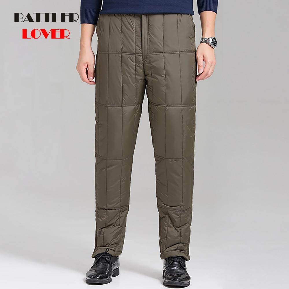 -40 Degree Size L-4XL Men Winter White Duck Down Pants Outdoor Male Ski Camping Trekking High Waist Waterproof Windproof Trouser